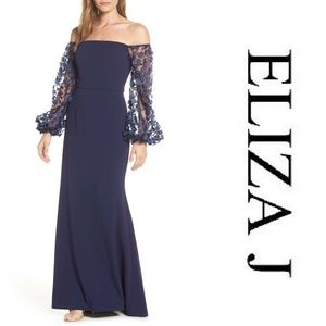 Eliza J Off the Shoulder 3D Floral Sleeve Dress